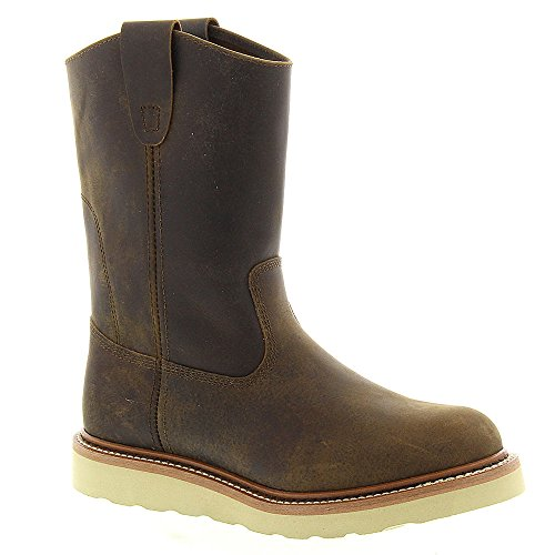 Golden Retriever Mens 9905 Dra På Wedge Boot Brun Crazy Horse Buffel Läder