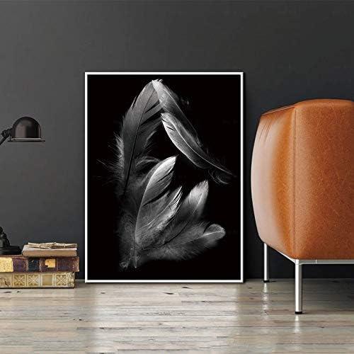 ganlanshu Azul Gris Rojo Oro Pluma Lienzo Pintura nórdica Arte de la Pared póster Sala de Estar decoración del hogar,Pintura sin marco-30X40cm: Amazon.es: Hogar