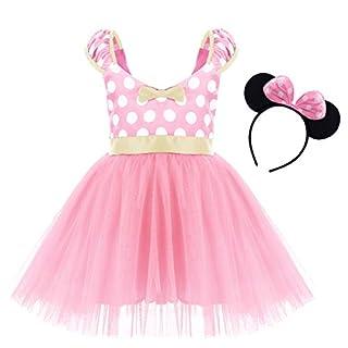 Cartoon Costume for Toddler Little Girl Tutu Skirt Mouse Ear Headband Polka Dot First Birthday Halloween Costume Princess Outfits X# Pink Short Dress+Headband 5-6 Years