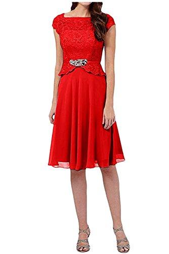 A Kurzarm Linie Rot Damen Partykleider Rock Brautmutterkleider Knielang Abendkleider Charmant Spitze 065qw5HS
