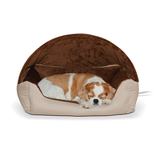 K&H Pet Products Thermo-Hooded Lounger Heated Pet Bed Tan Chocolate 20