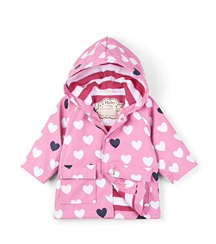Hatley Baby Girls Printed Raincoats, Color Changing Lovely Hearts, 12-18 Months ()