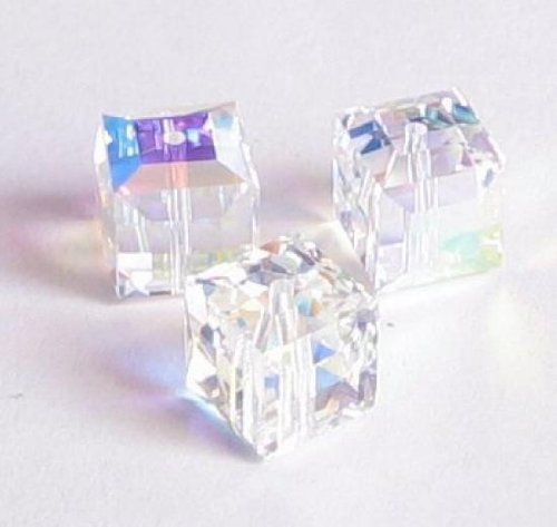 tal 5601 Cube Bead Spacer Clear AB 8mm / Findings / Crystallized Element (8mm 5601 Cube Swarovski Crystals)