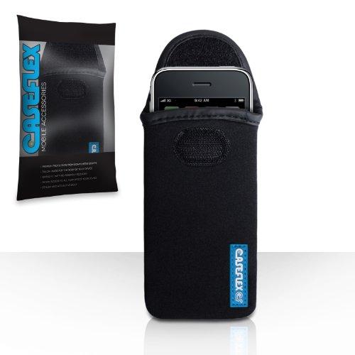 iPhone 3 / 3G / 3GS Tasche Schwarz Neopren Beutel Hülle Mit Caseflex Logo