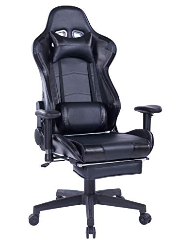 HEALGEN Back Massage Gaming Chair with Footrest,PC Computer Video Game Racing Gamer Chair High Back Reclining Executive Ergonomic Desk Office Chair with Headrest Lumbar Support Cushion (GM002 Black)