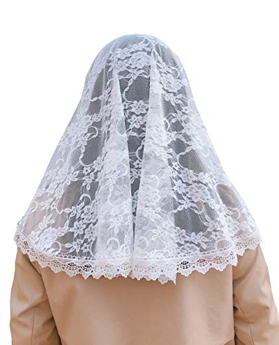 Chapel Veil Scarf Mantilla Black or White Soft Lace Victorian-Vintage Inspired D Shape (White)