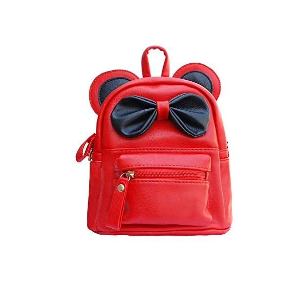 Abra-Cadabra Red Synthetic Faux Leather School Travel Backpack with Bow for Kids