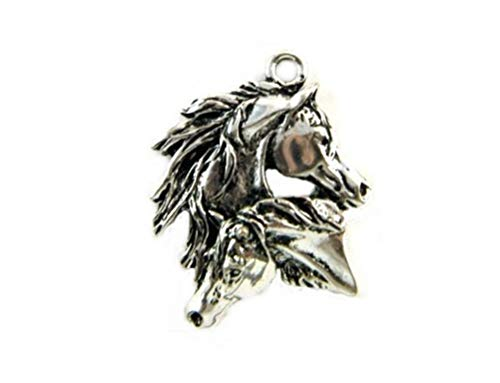 Horse Charms Pendants - Two Mustang Horses Pendant Charm EDL-PS3