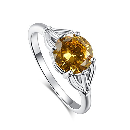 [Psiroy 925 Sterling Silver Elegant Citrine Solitaire Filled Ring for Women] (Princess Daisy Costumes Pattern)