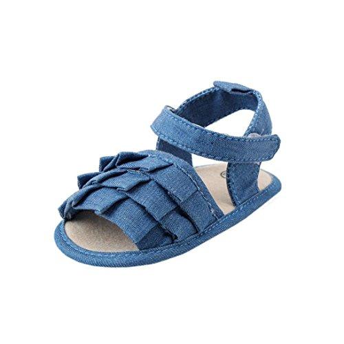 Leewa Baby Toddler Girls Denim First Walkers Sandals (Navy, US:4) Walker Denim