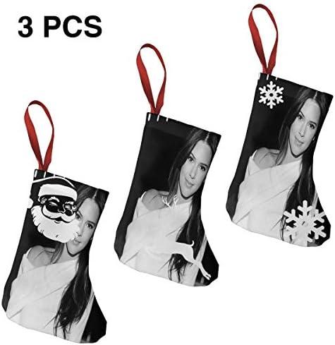 クリスマスの日の靴下 (ソックス3個)クリスマスデコレーションソックス モデルKendall Jenner クリスマス、ハロウィン 家庭用、ショッピングモール用、お祝いの雰囲気を加える 人気を高める、販売、プロモーション、年次式