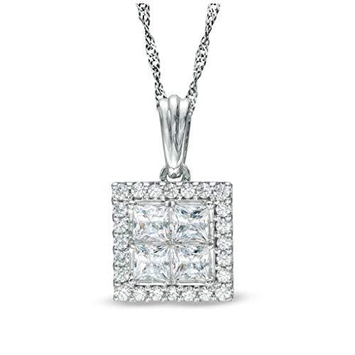 1 cttw Quad Princess-Cut White Natural Diamond Square Frame Pendant in 14K Solid White Gold