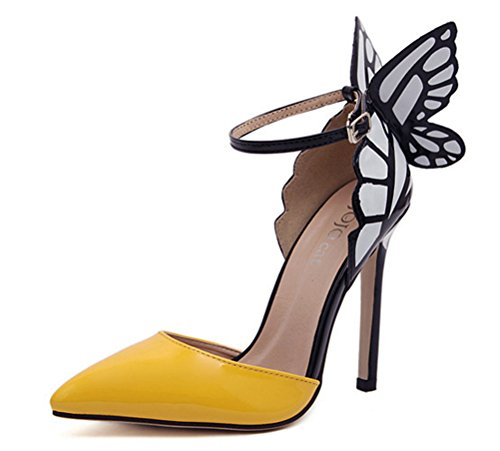 Fashion Pumps Butterfly Heels Pointed Wings Strap High Yellow MMJULY Stiletto Toe Sexy Womens 5gXqR