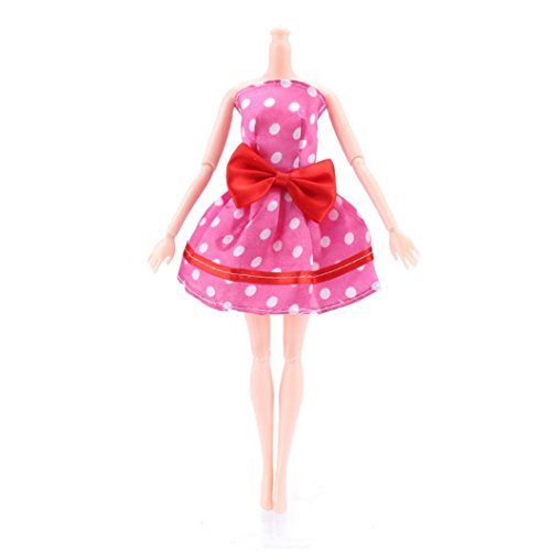 Digood For Barbie Doll Cute Trendy Off Shoulder Polka Dot Bowknot Gown Dress Clothes (Pink)