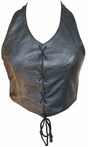 Allstate Leather Ladies Lambskin Leather Halter Top with Lace up Front M Black