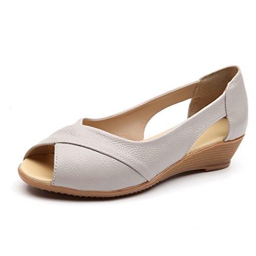 Las mujeres de verano sandalias zapatos Tacones impermeable negro,39 Beige