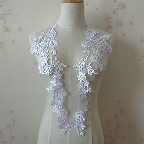 (1 Pair Embroidery Applique Wedding Lace Floral Motif Sewing Trims Decoration (White))