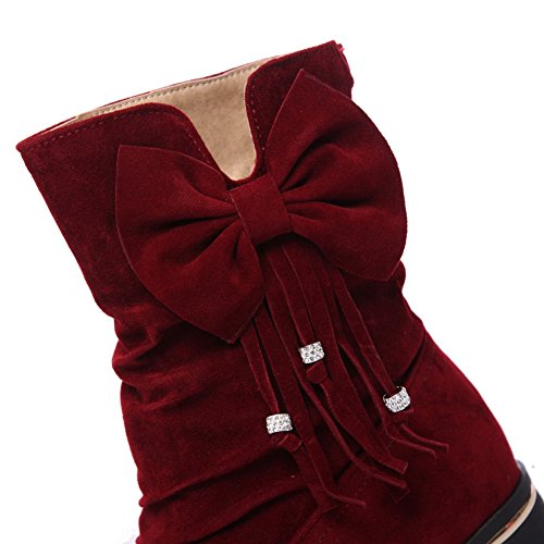 AdeeSu Womens Mid-Calf Pleated Bows Suede Boots SXC02579