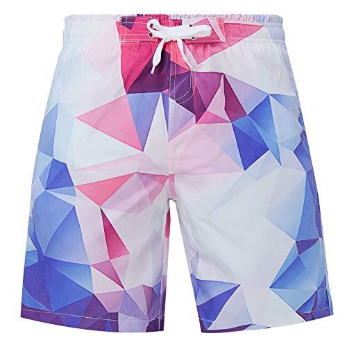UNIFACO Boys Beachshorts Quick Dry 3D Print Beach Trunks Diamond Geometric Summer Casual Pants Vacation Elastic Waist Swimwear Shorts
