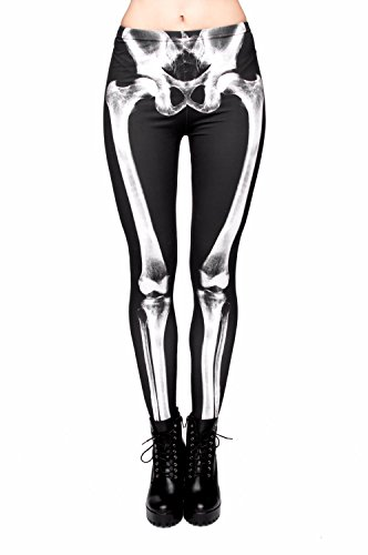 kukubird Printed Patterns Women's Yoga Leggings Gym Fitness Running Pilates Tights Skinny Pants 8 To 12 Stretchable - Bones