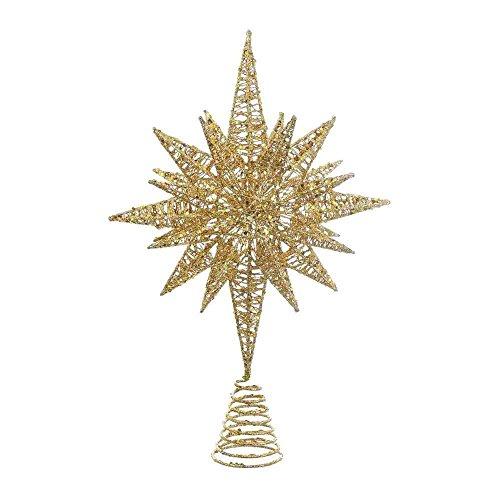 """Kurt Adler 16.5"""" GOLD GLITTER MULT ANGLE STAR TREETOP"""
