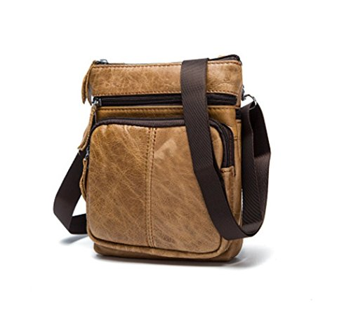 Zxh Leather Bag Vertical Section Men Leather Men One Shoulder Messenger Bag Large Capacity Zipper Pack Fashionable Tide Messenger Bag, K