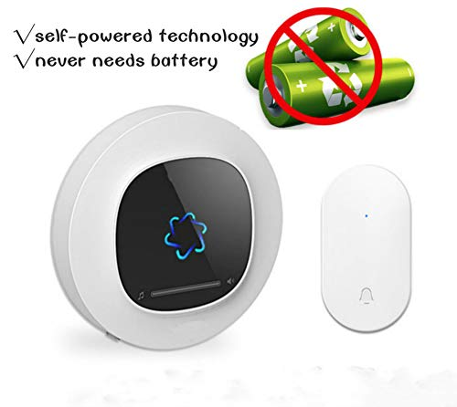 Price comparison product image wireless doorbell for home,office and classroom,220V, Chime,over 600-feet Range and 58 Chimes, No Batteries Required for Receiver and Transmitter,cold weather proof doorbell (White)