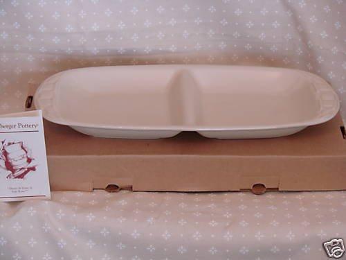 Longaberger Usa Pottery (Longaberger Vitrified Pottery Divided Dish Plate Ivory New Made in Usa)
