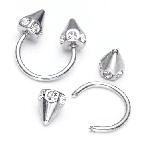 JSDDE Faux Cristal Piercings Arcade Fer à Cheval Rivet Conique Acier Inoxydable Horseshoe Captive Ring - Argenté