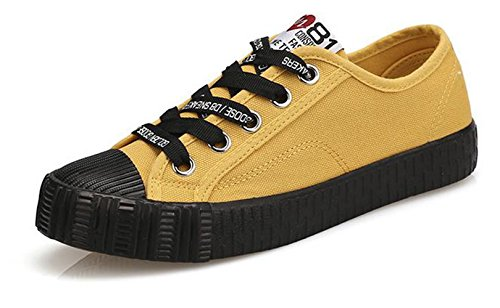 Ein bißchen Damen Studenten zuckerfarbe Sneaker Low Top Schuhe Canvas Textil Gelb-B