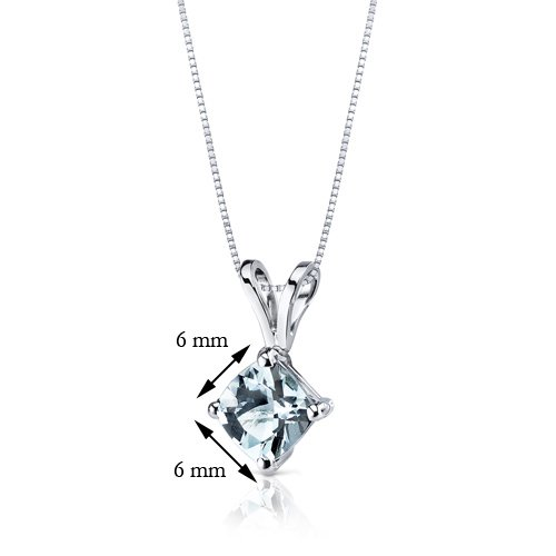 Revoni 14ct or blanc 585/1000 Coussin Coupe 0.75 Carats Aigue-marine pendentif Collier