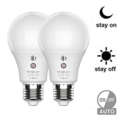 Sensor Light Bulb 360°Dusk to Dawn E26 Bulb Lamp A19 8W 10W Indoor Outdoor Yard Porch Patio Garage Garden 2 Pack by Mingfuxin