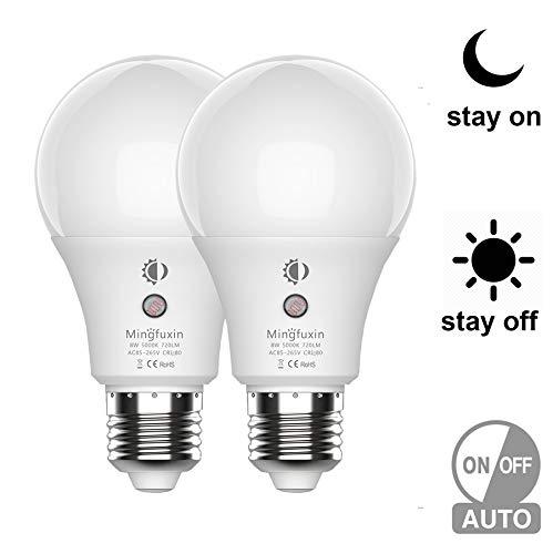 (Dusk to Dawn Light Bulb - Auto On/Off Outdoor Light Sensor Bulbs LED Porch Light Bulbs E26/E27 Security Bulbs for Patio Garage Garden Veranda (8W, Daylight 5000K, 2Pack) by Mingfuxin)