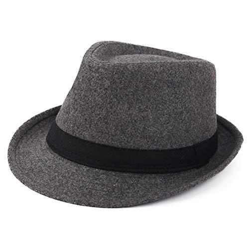 Melesh Unisex Classic Trilby Fedora Hat (Dark Grey)