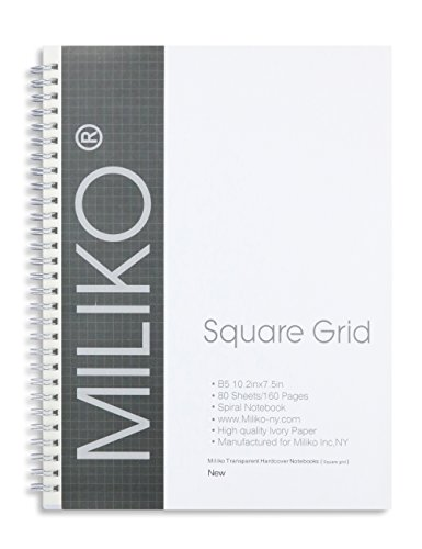 Miliko Transparent Hardcover B5 Square Grid Wirebound/Spiral Notebook/Journal Set-2 Per Pack, 7.1''x10''(Square Grid) by MILIKO (Image #1)