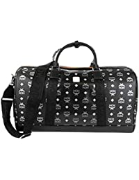 MCM Men's Black Reflective Nylon Weekender Travel Bag MUV9ARA09BK001