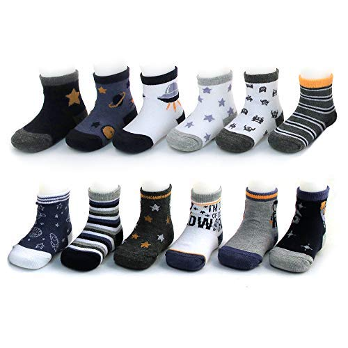 Rising Star Baby Boys Assorted Color Designs 12 Pair Socks Set, Multi-Color, Age 0-24M (6-12 Months, Space Design -