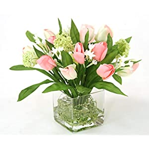Distinctive Designs Waterlook Pink Tulip Bundle with Snowballs in Square Glass Vase 90