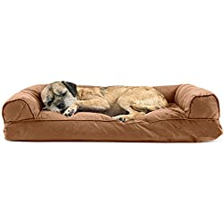 Furhaven Pet Dog Bed | Quilted Pillow Sofa-Style Couch Pet Bed for Dogs & Cats, Warm Brown, Medium