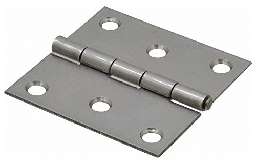 2-1/2'' Long x 2-1/2'' Wide x 0.062'' Thick, 302/304 Stainless Steel Commercial Hinge, 6 Holes, 0.12'' Pin Diam by Made in USA