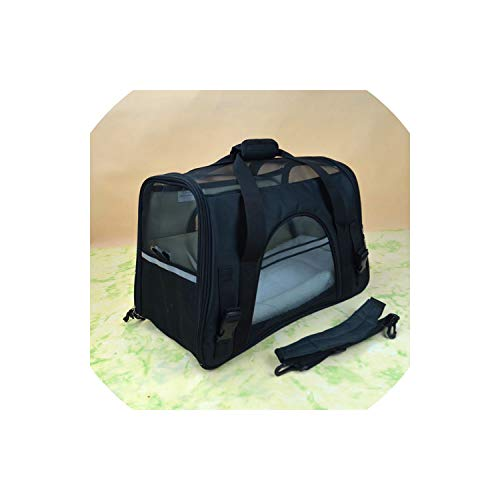 (Fly-Town Portable Pet Bag Backpack Dog Cat Carrier Travel Pack Outgoing Packets with Cashmere Pad Shoulder Bag Pet Handbag for doggs,Black,one Size)