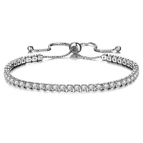 ANGELFLY Tennis Women Love Bracelet,Cubic Zirconia 18K White Gold Plated Adjustable Bangle Bracelets for Women Girls Gift for Valentine's Day (G-White Gold Plated Tennis Bracelet)
