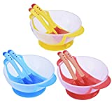 Baby Suction Bowl Set With Temperature Sensing Spoon and Fork Toddler Feeding Learning Tableware(Blue)