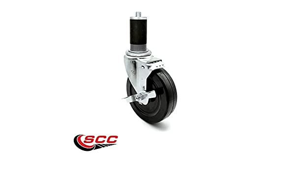 Rueda de tallo expansible con freno - Rueda de goma dura de 12,7 cm - Juego de 4 ruedas para tubo de mesa de trabajo: Amazon.es: Amazon.es