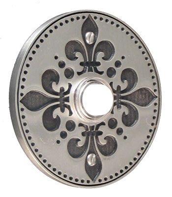 Fleur-de-lis Round Pewter Antique Doorbell
