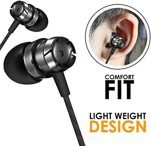 WeCool Mr.Bass W001 Snug Fit Metallic in Ear Earphone with Rich Bass and Surround Sound Earphones Wired Plus Carry Case(Black)