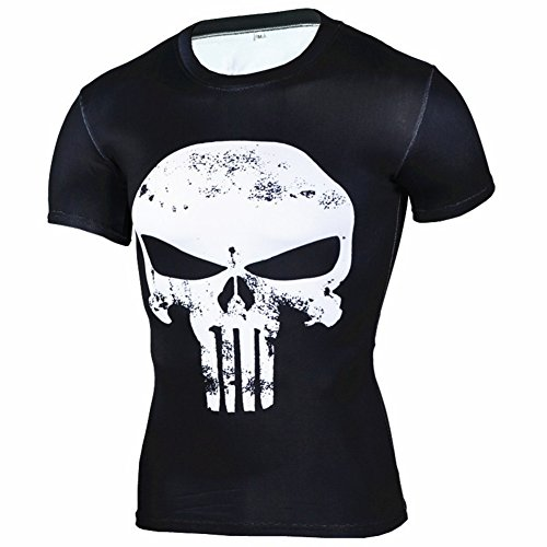 PKAWAY Mens Short Sleeve White Punisher Skull Compression