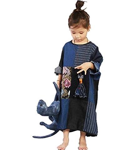 Yesno JP5 Children Loose Caftan Denim Shift Dress Handcraft Embroidery Lace Patchwork Pinstripe Plus Size Batwing - Denim Pinstripe Cap