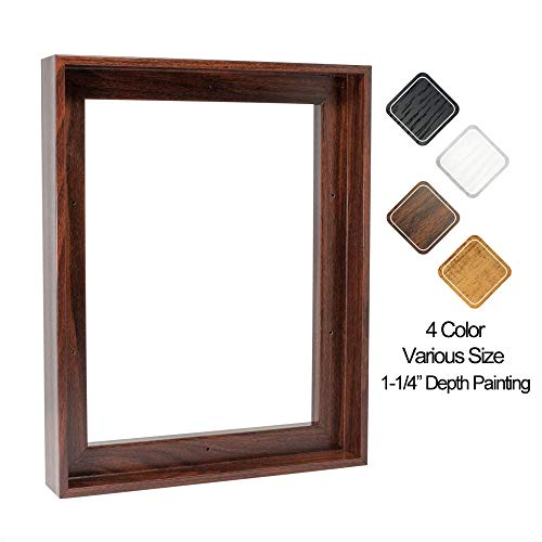 "Floating Frame for 16x20 Inch Canvas Painting 1-1/4"" Deep, (4 Color) Picture Art Wall Decor, Dark Brown Frame"