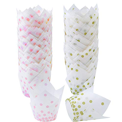 (Ruisita 150 Pieces Tulip Baking Cups Pink Dot Gold Polka Dot Cupcake Liners Muffin Baking Cup for Birthday, Weddings, Anniversaries, 2 Types (Gold, Pink))